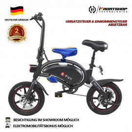 F-Wheel DYU D3 plus folding moped Smart E-Scooter E Roller electric bike e bike 14 Inch Inflatable Rubber Tires 240W Motor 10Ah Battery Max Speed ​​25km / h Up To 45km Range Double Disc Brakes Adjustable Height with child saddle and foot pedals